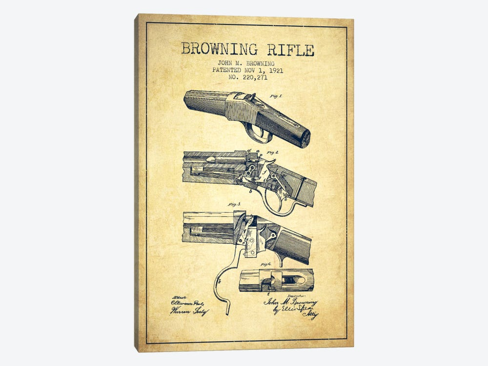 Browning Rifle Vintage Patent Blueprint by Aged Pixel 1-piece Canvas Art Print