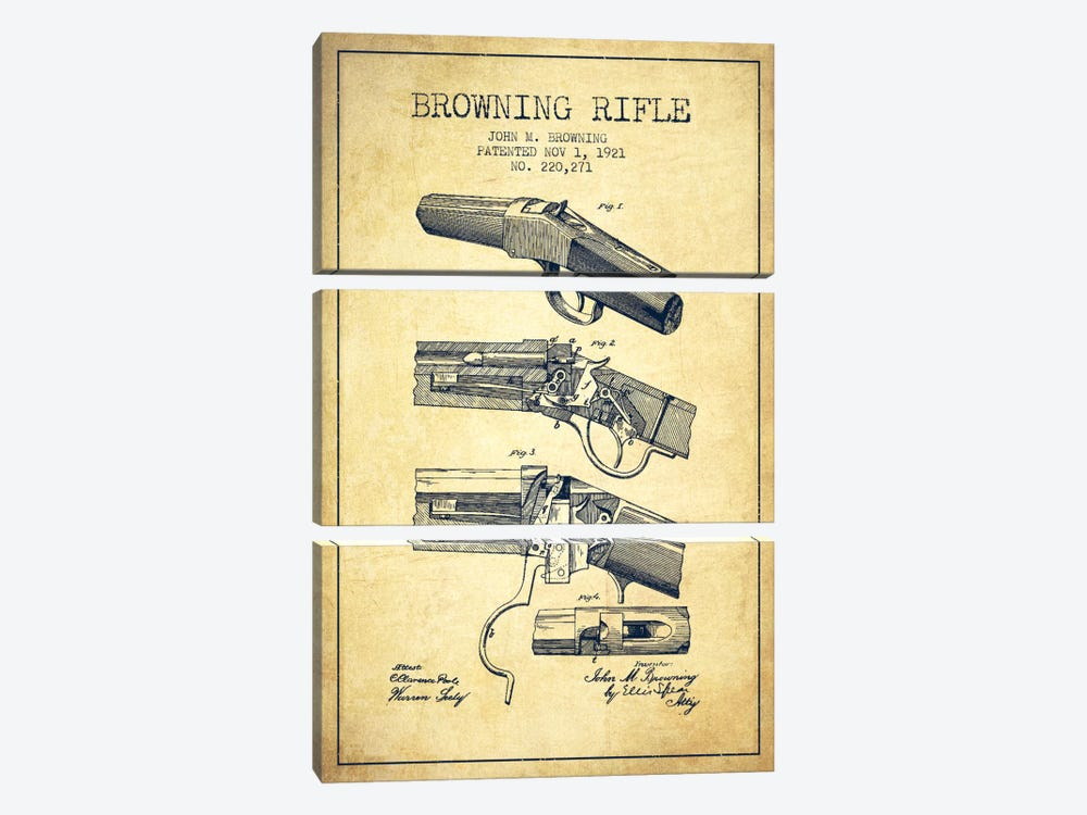 Browning Rifle Vintage Patent Blueprint by Aged Pixel 3-piece Canvas Print