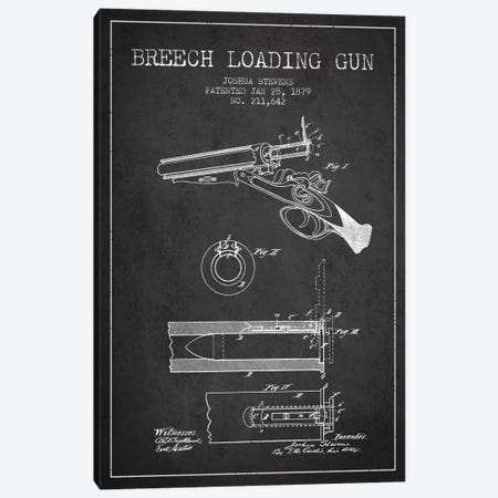 Stevens Breech Shotgun Gun Charcoal Patent Blueprint Canvas Print #ADP1324} by Aged Pixel Canvas Artwork
