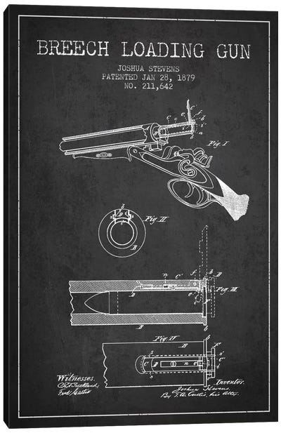 Stevens Breech Shotgun Gun Charcoal Patent Blueprint Canvas Art Print