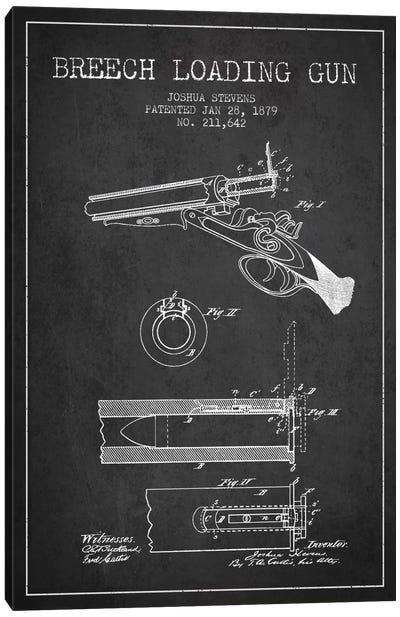 Stevens Breech Shotgun Gun Charcoal Patent Blueprint Canvas Art Print