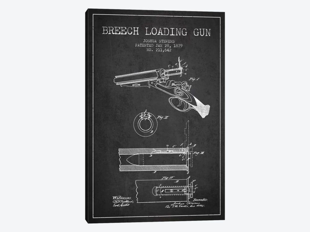 Stevens Breech Shotgun Gun Charcoal Patent Blueprint by Aged Pixel 1-piece Canvas Artwork