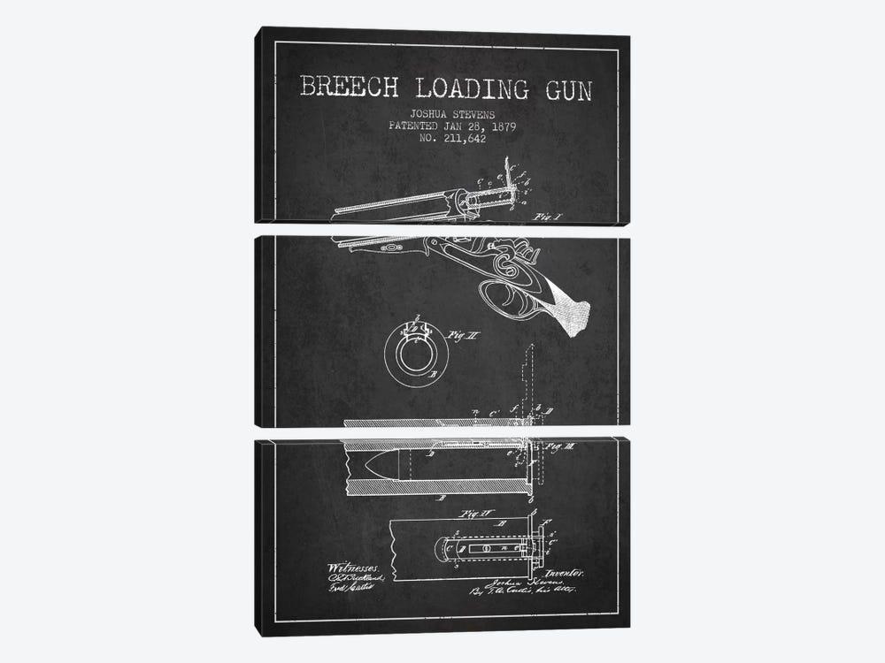 Stevens Breech Shotgun Gun Charcoal Patent Blueprint by Aged Pixel 3-piece Canvas Artwork