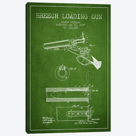 Stevens Breech Shotgun Green Patent Blueprint Canvas Print #ADP1325} by Aged Pixel Canvas Art