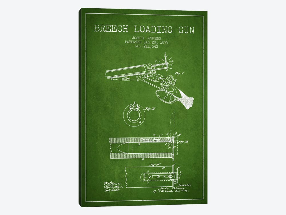 Stevens Breech Shotgun Green Patent Blueprint by Aged Pixel 1-piece Art Print