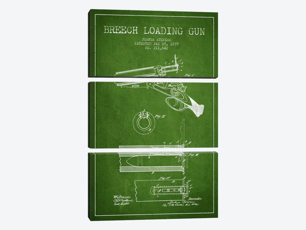 Stevens Breech Shotgun Green Patent Blueprint by Aged Pixel 3-piece Art Print