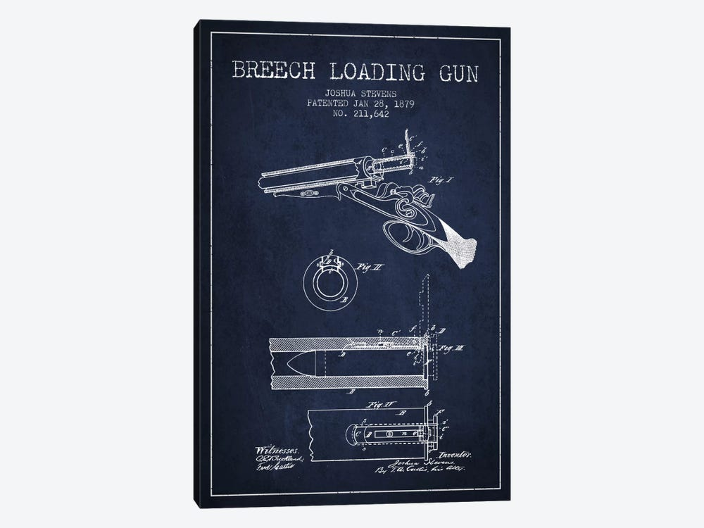 Stevens Breech Shotgun Navy Blue Patent Blueprint 1-piece Canvas Art