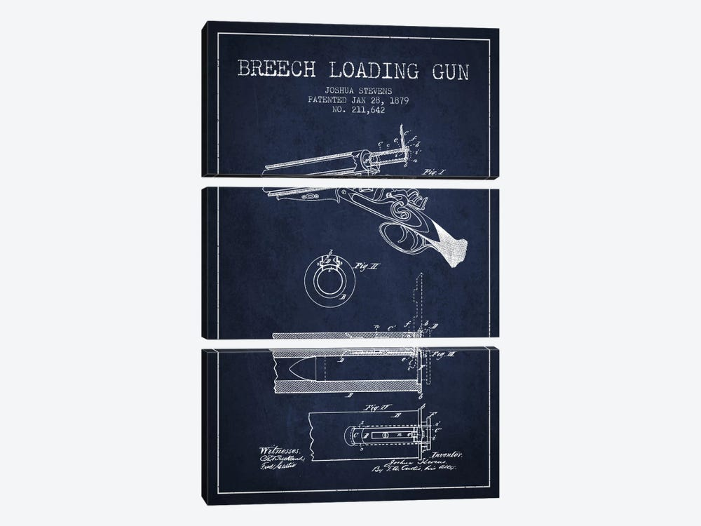 Stevens Breech Shotgun Navy Blue Patent Blueprint by Aged Pixel 3-piece Canvas Art