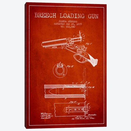 Stevens Breech Shotgun Red Patent Blueprint Canvas Print #ADP1327} by Aged Pixel Canvas Artwork