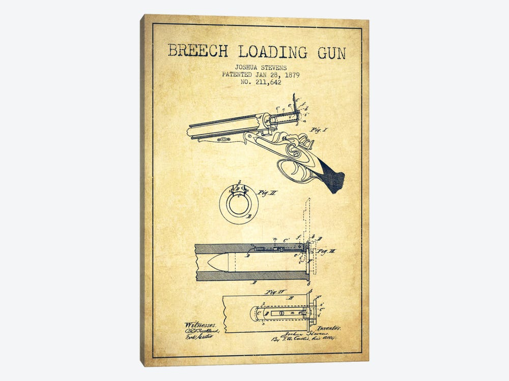 Stevens Breech Shotgun Vintage Patent Blueprint by Aged Pixel 1-piece Canvas Wall Art