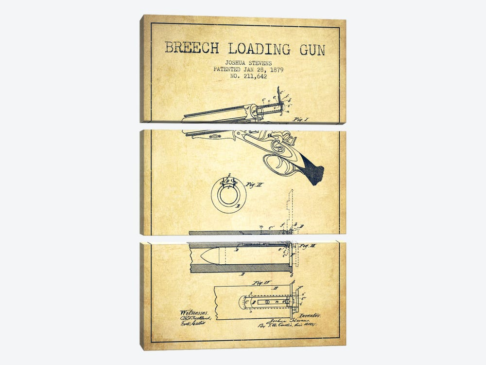 Stevens Breech Shotgun Vintage Patent Blueprint by Aged Pixel 3-piece Canvas Artwork