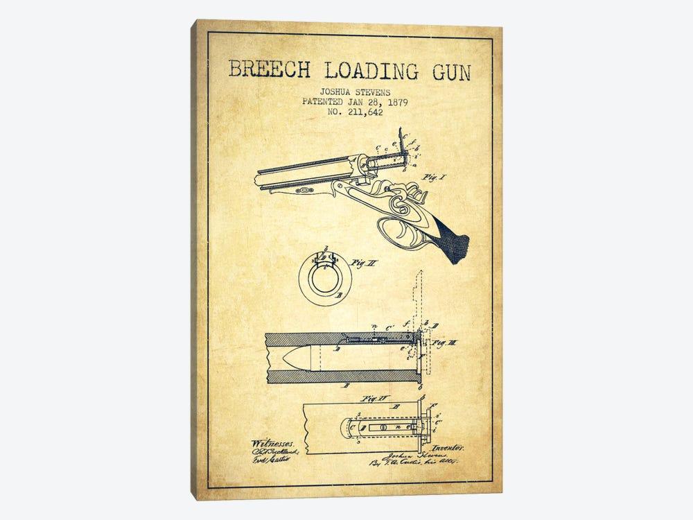 Stevens Breech Shotgun Vintage Patent Blueprint by Aged Pixel 1-piece Canvas Wall Art