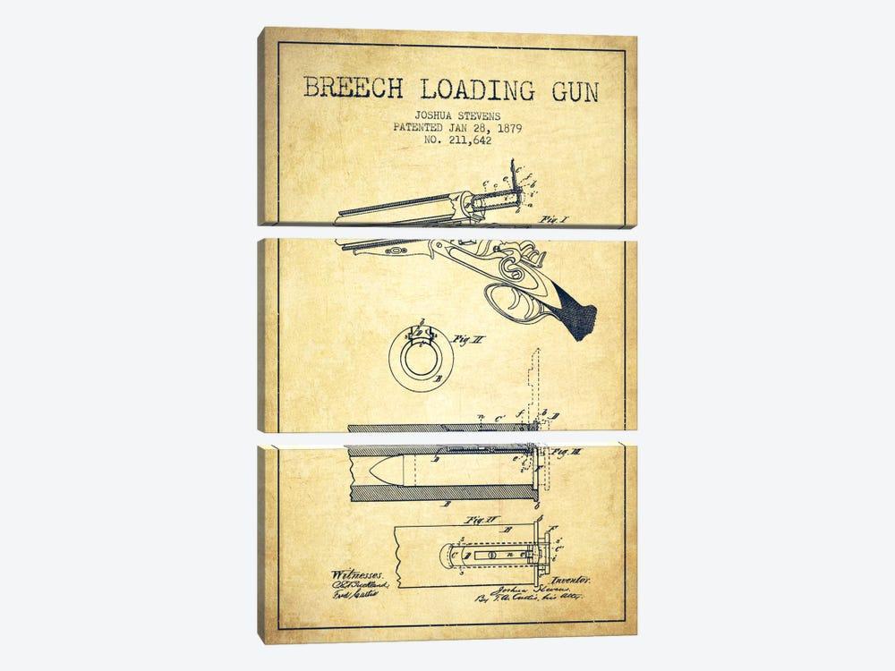 Stevens Breech Shotgun Vintage Patent Blueprint by Aged Pixel 3-piece Canvas Artwork