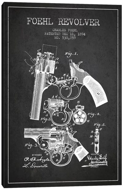 Foehl Revolver Charcoal Patent Blueprint Canvas Print #ADP1329
