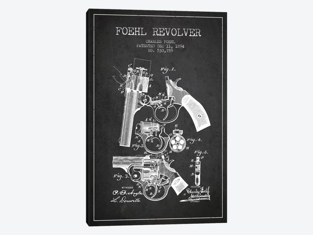Foehl Revolver Charcoal Patent Blueprint by Aged Pixel 1-piece Canvas Print