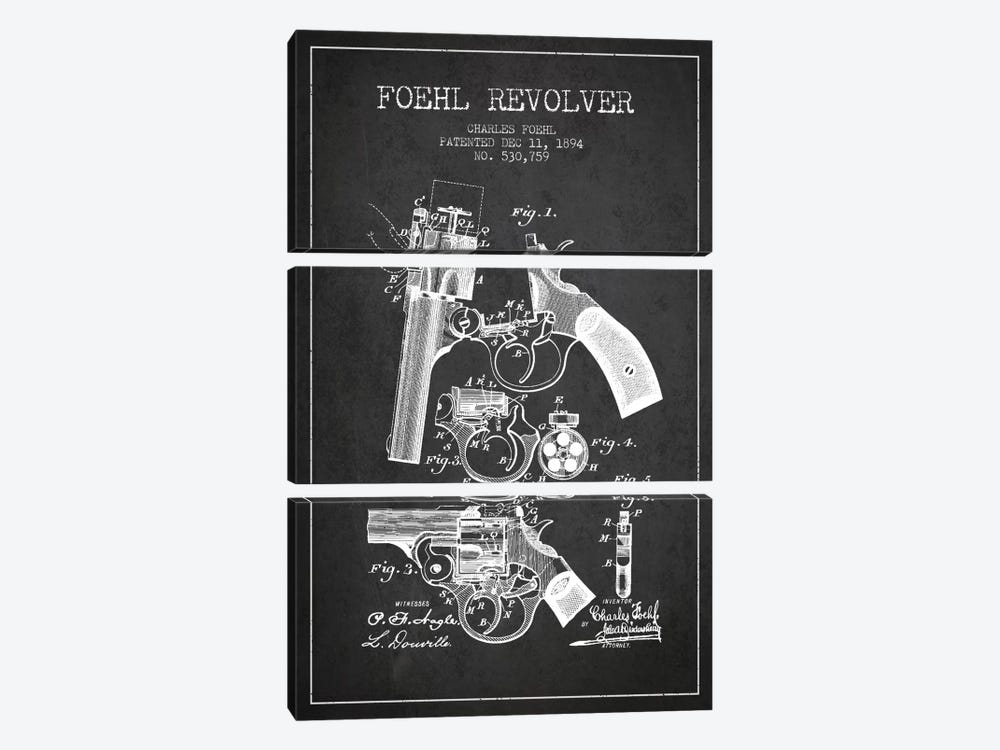 Foehl Revolver Charcoal Patent Blueprint by Aged Pixel 3-piece Canvas Print