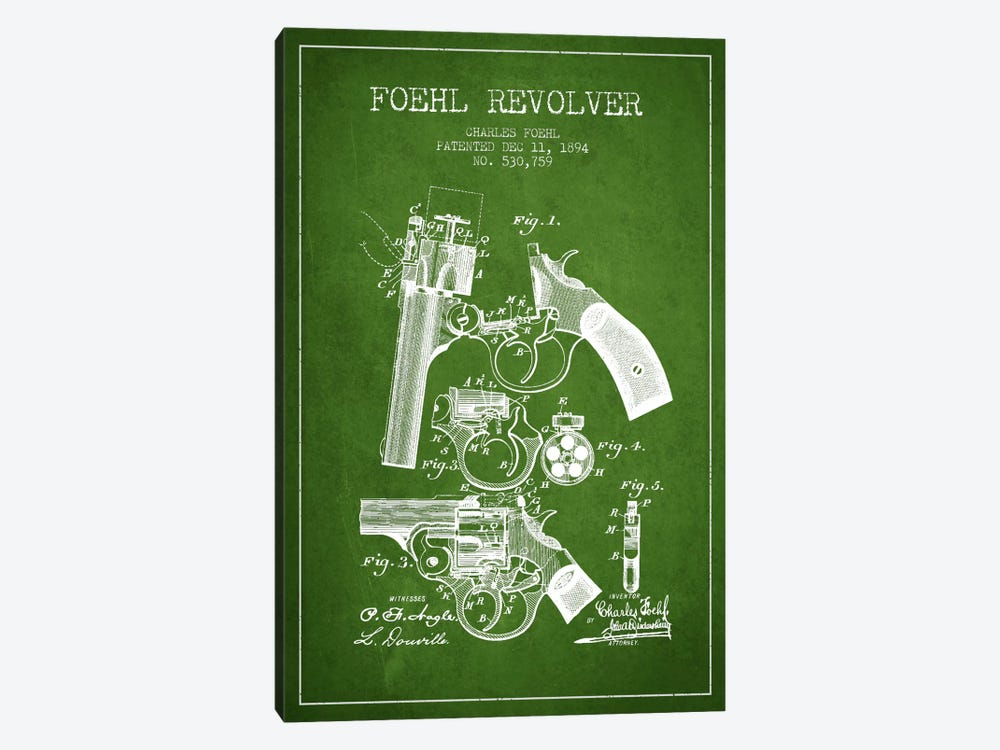 Foehl Revolver Green Patent Blueprint by Aged Pixel 1-piece Canvas Art Print