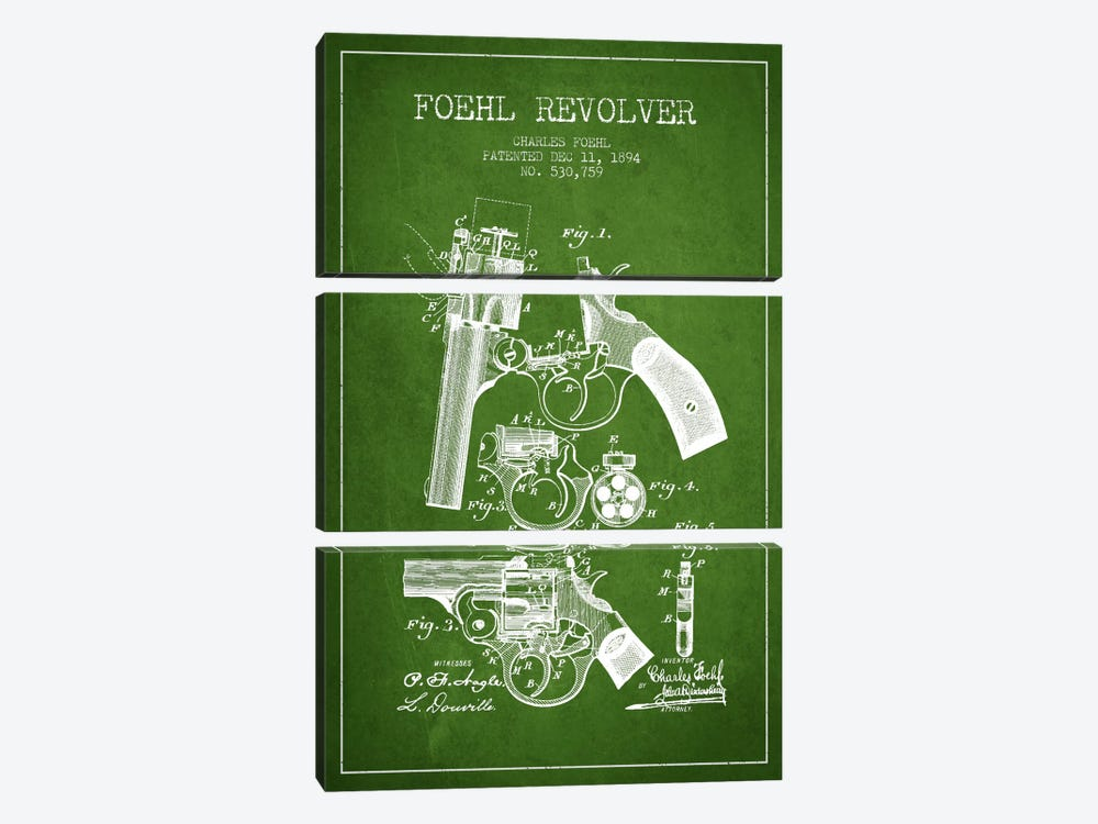 Foehl Revolver Green Patent Blueprint by Aged Pixel 3-piece Canvas Print