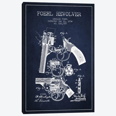 Foehl Revolver Navy Blue Patent Blueprint Canvas Print #ADP1331} by Aged Pixel Canvas Artwork