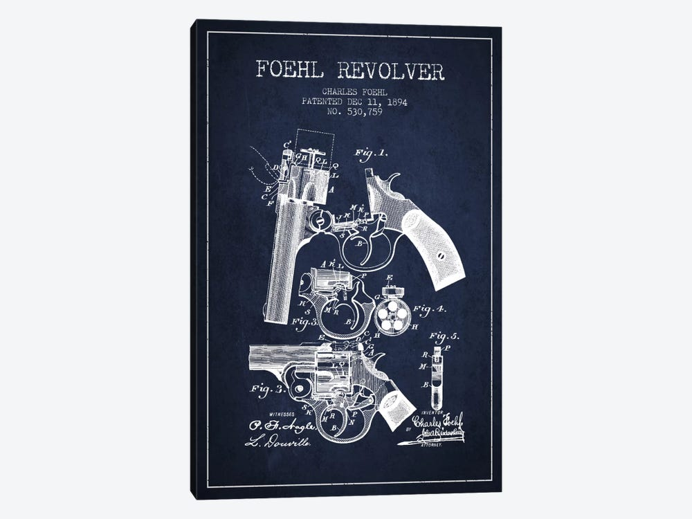 Foehl Revolver Navy Blue Patent Blueprint by Aged Pixel 1-piece Canvas Art