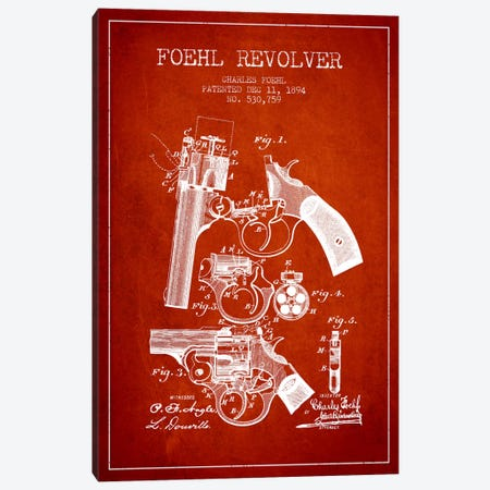 Foehl Revolver Red Patent Blueprint Canvas Print #ADP1332} by Aged Pixel Canvas Wall Art