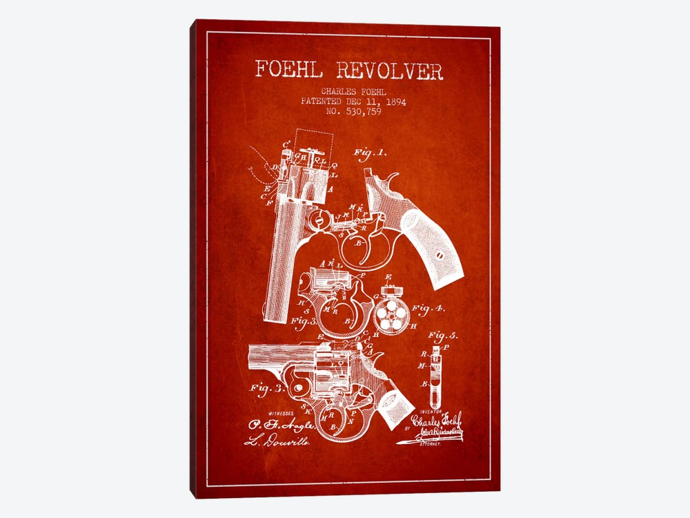 Foehl Revolver Red Patent Blueprint by Aged Pixel 1-piece Canvas Print