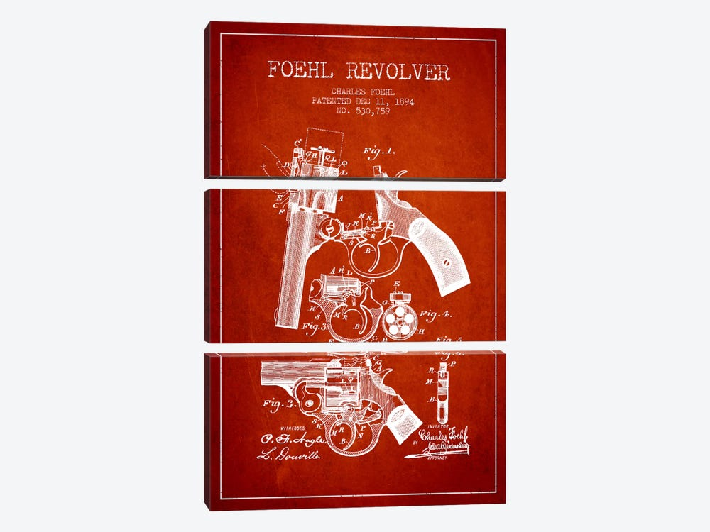 Foehl Revolver Red Patent Blueprint by Aged Pixel 3-piece Art Print