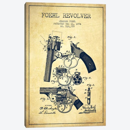 Foehl Revolver Vintage Patent Blueprint Canvas Print #ADP1333} by Aged Pixel Canvas Wall Art