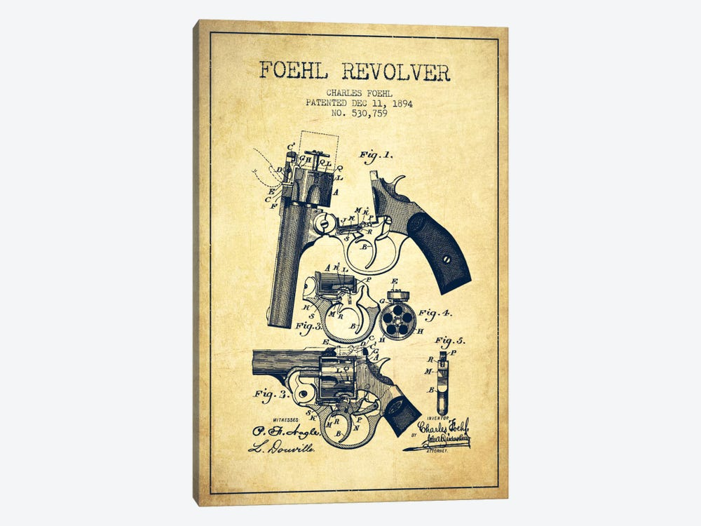 Foehl Revolver Vintage Patent Blueprint by Aged Pixel 1-piece Canvas Wall Art
