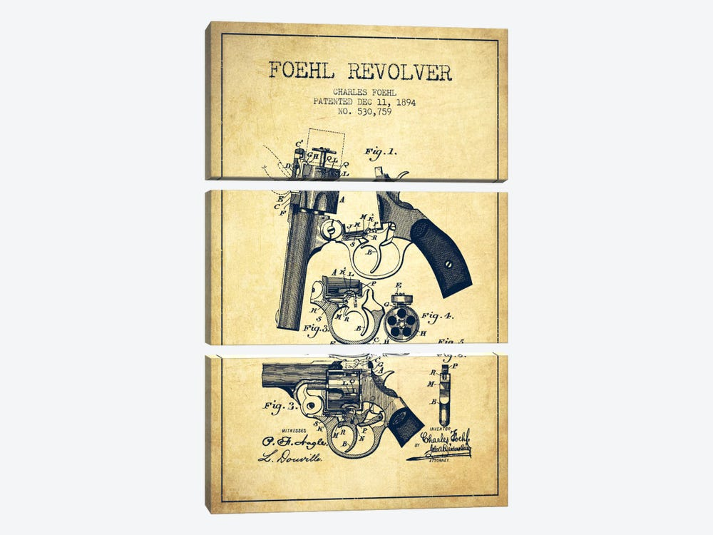 Foehl Revolver Vintage Patent Blueprint by Aged Pixel 3-piece Canvas Wall Art