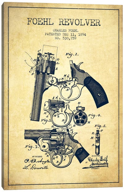 Foehl Revolver Vintage Patent Blueprint Canvas Art Print