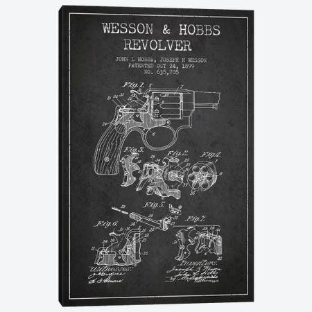 Wesson & Hobbs Revolver Charcoal Patent Blueprint Canvas Print #ADP1334} by Aged Pixel Art Print