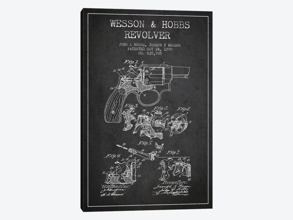 Wesson & Hobbs Revolver Charcoal Patent Blueprint by Aged Pixel 1-piece Canvas Print