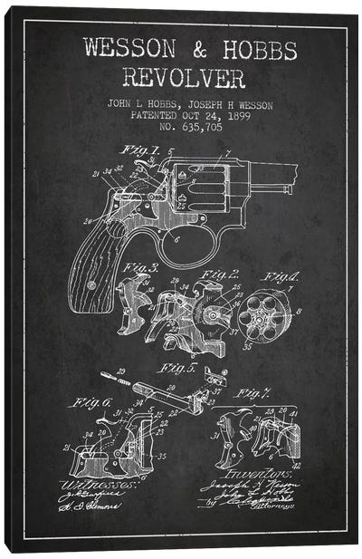 Wesson & Hobbs Revolver Charcoal Patent Blueprint Canvas Art Print
