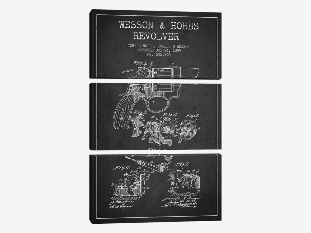Wesson & Hobbs Revolver Charcoal Patent Blueprint by Aged Pixel 3-piece Canvas Print