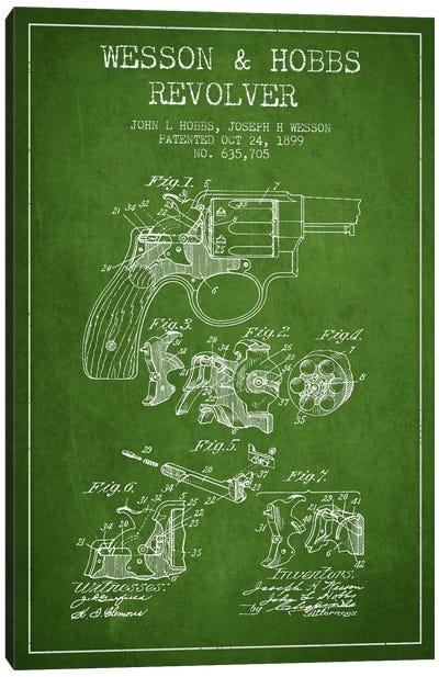 Wesson & Hobbs Revolver Green Patent Blueprint Canvas Print #ADP1335