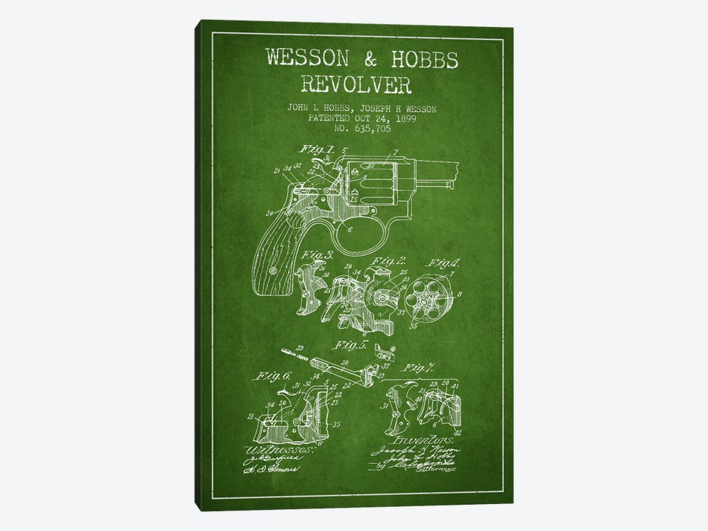 Wesson & Hobbs Revolver Green Patent Blueprint by Aged Pixel 1-piece Canvas Artwork