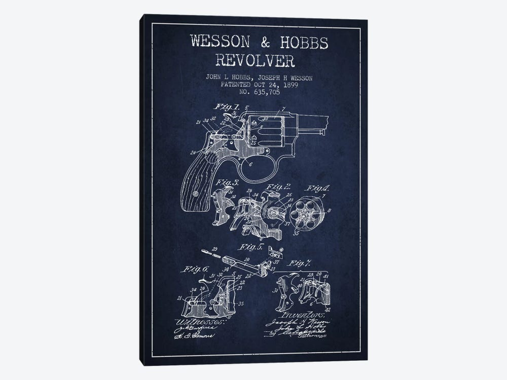 Wesson & Hobbs Revolver Navy Blue Patent Blueprint by Aged Pixel 1-piece Art Print