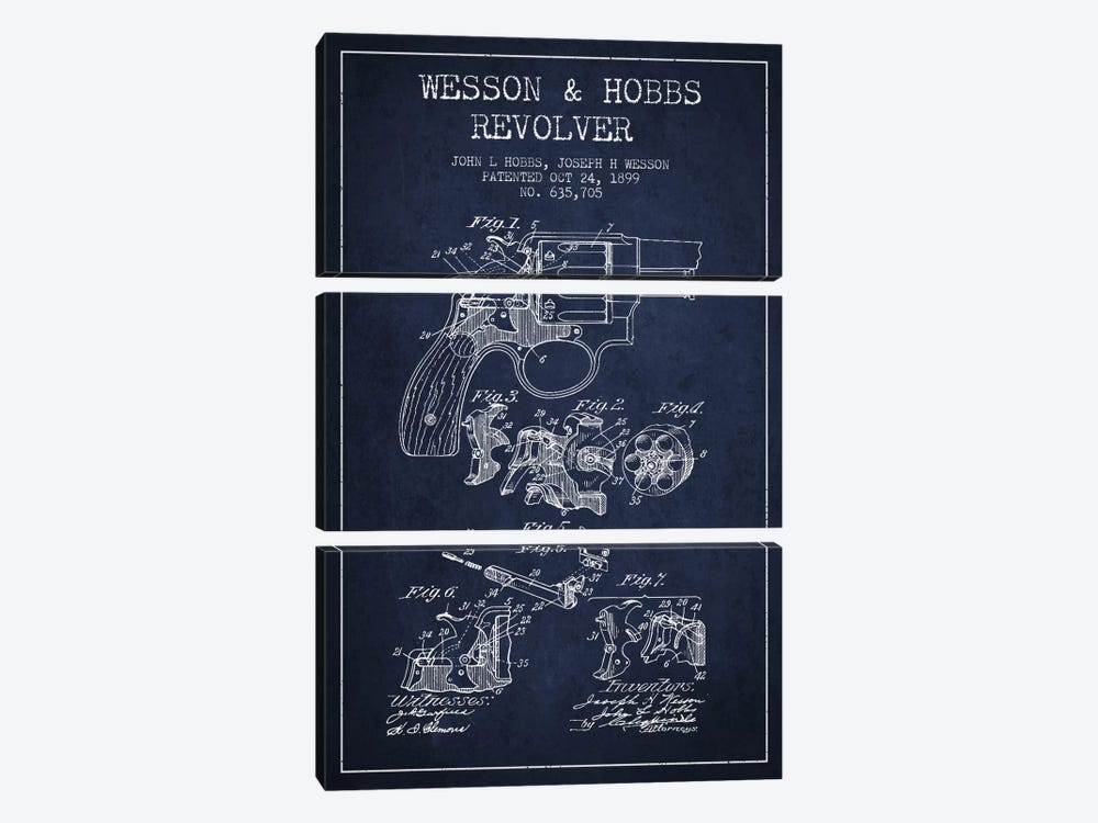 Wesson & Hobbs Revolver Navy Blue Patent Blueprint by Aged Pixel 3-piece Canvas Print