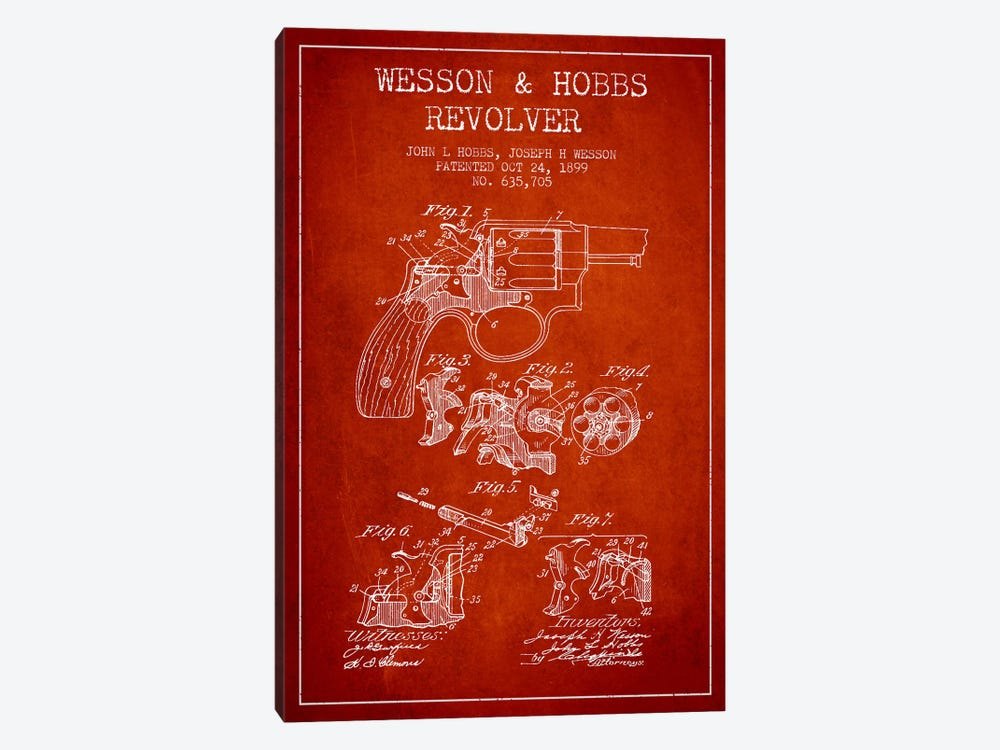 Wesson & Hobbs Revolver Red Patent Blueprint by Aged Pixel 1-piece Canvas Art