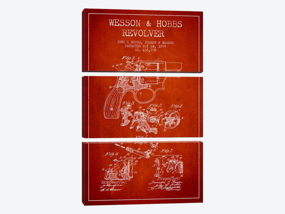 Wesson & Hobbs Revolver Red Patent Blueprint by Aged Pixel 3-piece Canvas Artwork