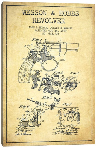 Wesson & Hobbs Revolver Vintage Patent Blueprint Canvas Art Print