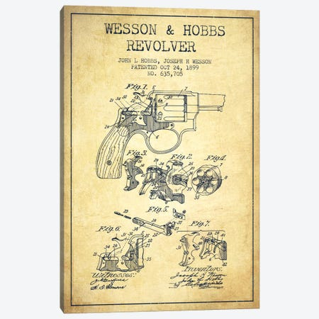 Wesson & Hobbs Revolver Vintage Patent Blueprint Canvas Print #ADP1338} by Aged Pixel Canvas Artwork