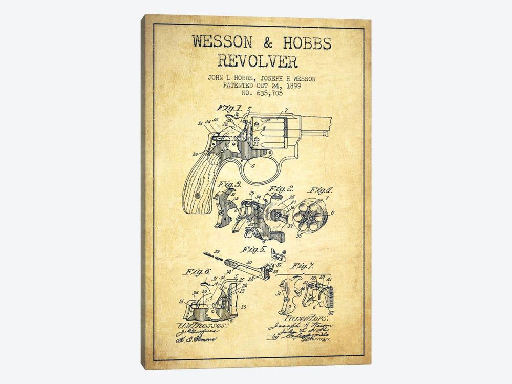 Wesson & Hobbs Revolver Vintage Patent Blueprint by Aged Pixel 1-piece Canvas Print