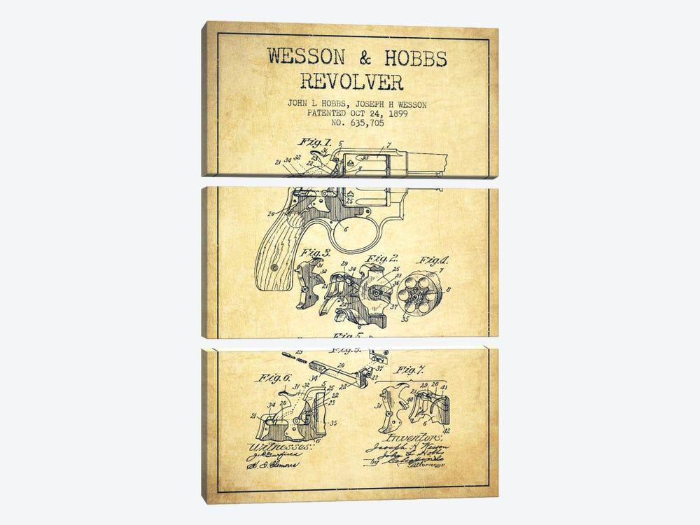 Wesson & Hobbs Revolver Vintage Patent Blueprint by Aged Pixel 3-piece Canvas Art Print