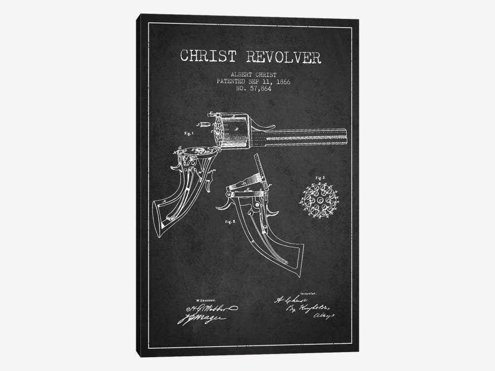 Christ Revolver Charcoal Patent Blueprint by Aged Pixel 1-piece Canvas Artwork