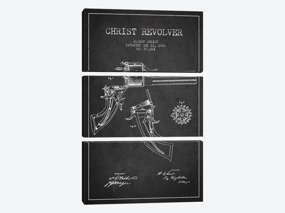 Christ Revolver Charcoal Patent Blueprint by Aged Pixel 3-piece Canvas Art