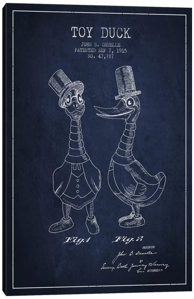 Male Duck Navy Blue Patent Blueprint Canvas Art Print