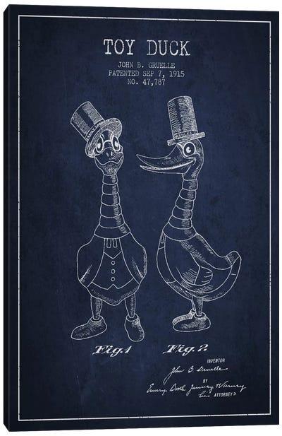 Male Duck Navy Blue Patent Blueprint Canvas Art Print