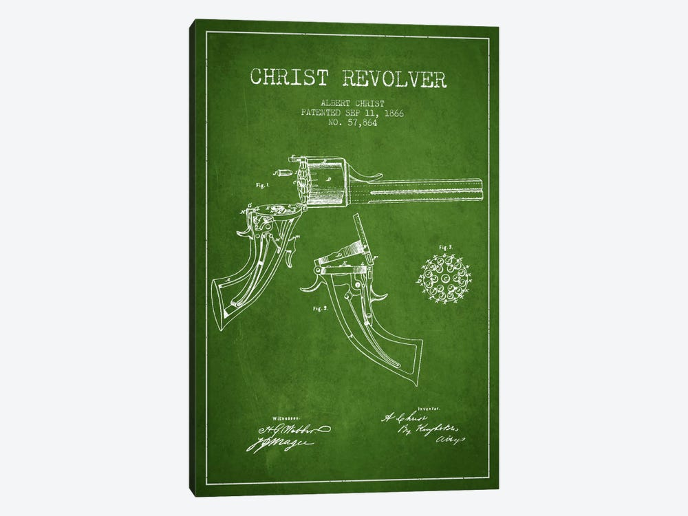 Christ Revolver Green Patent Blueprint 1-piece Canvas Wall Art